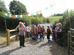 Photo of Cllr Gloria Cawood opening the Batcombe allotments